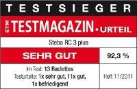 Steba RC3 PLUS Raclette Testsiger Bild vom ETM Testmagazin Urteil von 2011.