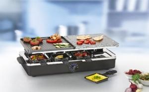 Der Tristar RA-2992 Raclette-Grill mit 8 Pfännchen, 1400 Watt, edlem Design und 3 in 1 Funktion als Raclette, heißer Steingrill und Grill.
