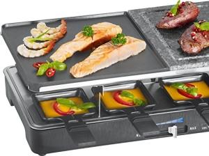 Der Clatronic RG 3518 Raclette-Grill und Raclette im Überblick und Ratgeber beim kaufen. Die geteilten Grillplatten und Pfännchen - Bild 2.