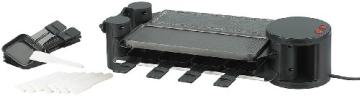 Rosenstein & Söhne variabler Raclette grill für 8 Personen, in schwarz mit Grillplatte und heißem Stein. Die Grillfläche ist um 180° drehbar.