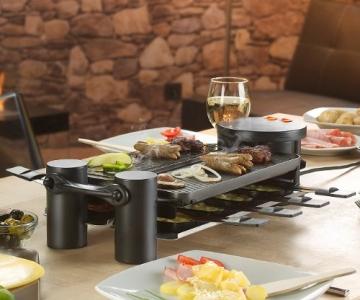 Rosenstein & Söhne variabler Raclette grill für 8 Personen, in schwarz mit Grillplatte und heißem Stein. Die Grillfläche ist um 180° drehbar - Bild 2.