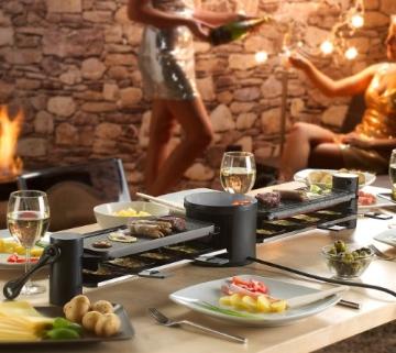 Rosenstein & Söhne variabler Raclette grill für 8 Personen, in schwarz mit Grillplatte und heißem Stein. Die Grillfläche ist um 180° drehbar - Bild 3.