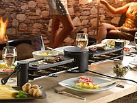 Rosenstein & Söhne variabler Raclette grill für 8 Personen, in schwarz mit Grillplatte und heißem Stein. Die Grillfläche ist um 180° drehbar - Bild 4.